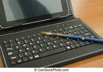 digital painting, brush on the keyboard