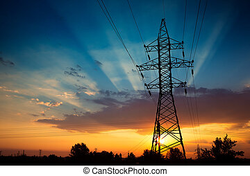 Power lines on a sunrise - Power lines on a colorful sunrise