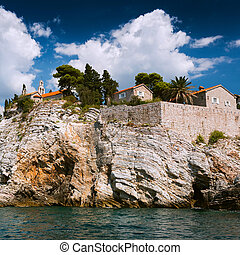 Island of Sveti Stefan, Montenegro, Balkans, Adriatic sea,...
