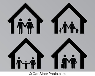 Family with houses set illustration