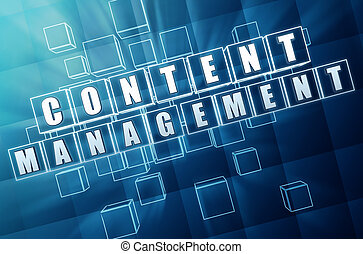 content management in blue glass cubes - internet concept -...