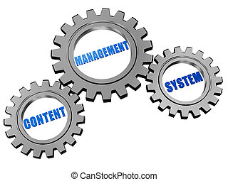 content management system in silver grey gears - content...