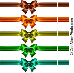 Silk bows with ribbons in dark colors - Vector illustration...