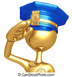 Golden Police Officer Waving - 3D Concept And Presentation...