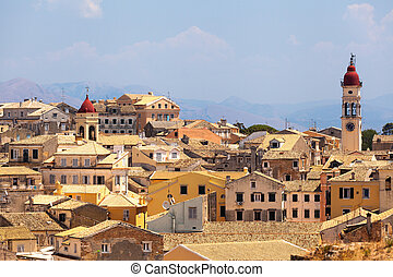 View from castle to Corfu-Town / Kerkyra in Greece