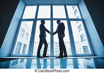 Business deal - Photo of successful businessmen handshaking...