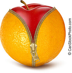 Unzipped orange with red apple. Fruit and diet against...