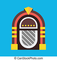 Clip Art Vector of classic juke box - Vector illustration in retro ...