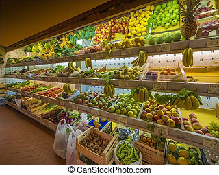 Fresh vegetables and fruits - fresh produce in small indoor...