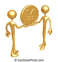 Holding Gold Yen Coin - 3D Concept And Presentation Figure