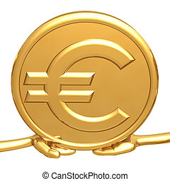 Holding Gold Euro Coin - 3D Concept And Presentation Figure