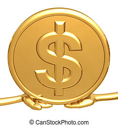 Holding Gold Dollar Coin - 3D Concept And Presentation...