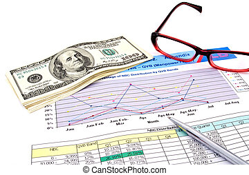 glasses,pen and dollars on financial Graphs