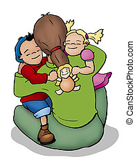 Hugging - Illustration of a mother, a boy and a girl...
