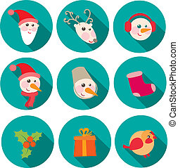 christmas icons objects collection detailed vector illustration