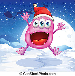 A happy pink monster jumping with a red hat
