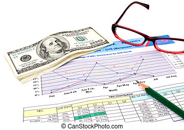 glasses,pencil and dollars on financial Graphs