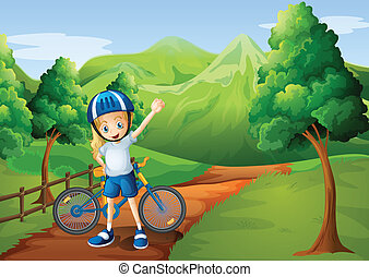 Illustration of a cute little girl and her bike at the...