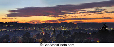 Colorful Sunset Over Portland Oregon Cityscape Panorama