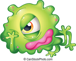 A bored green one-eyed monster - Illustration of a bored...