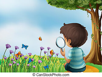 Illustration of a young boy holding a magnifying lens at the...