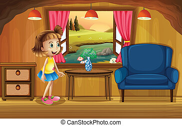 A cute young girl in a tree house - Illustration of a cute...