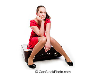Girl with a suitcase - beautiful girl with a blue suitcase