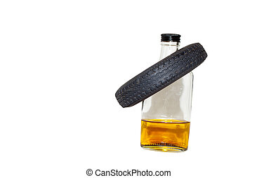Liqour Bottle With Tyre Hangover - No drinking and driving...