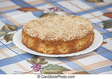 Apricot pie on plate