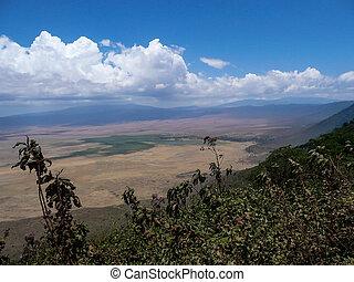 ngorongoro - Landscape shot of the Ngorongoro crater,...