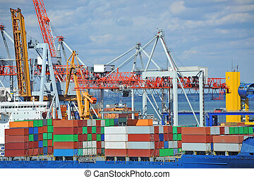 Cargo crane and container ship - Container stack and cargo...