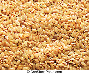 Close up of golden linseed also known as flax seed