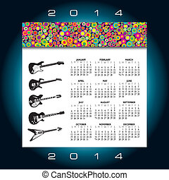 2014 Creative Music Calendar for Print or Website