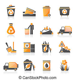Garbage and rubbish icons - vector icon set