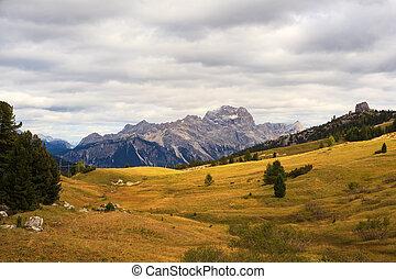 Dolomites - View of Dolomites mountains from Falzarego