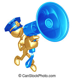 Golden Police Officer With Megaphone