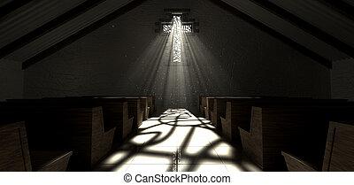 玻璃, 窗口, 沾污, 耶穌受難像, 教堂