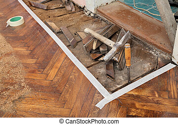 Home renovation - Old parquet floor remove with chisel,...