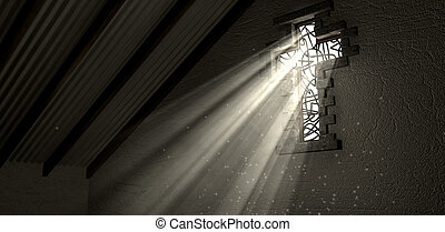 Stained Glass Window Crucifix Illuminated Light Rays - An...