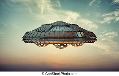 ufo spaceship flying in the sky