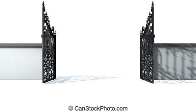 Open Ornate Gates And Wall - A solid plastered garden wall...
