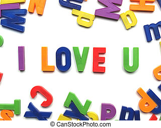 i love you - I love you message written with plastic toy...