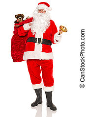 Santa carrying a sack full of gifts isolated
