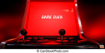 Arcade Game Game Over - A vintage arcade game machine with a...