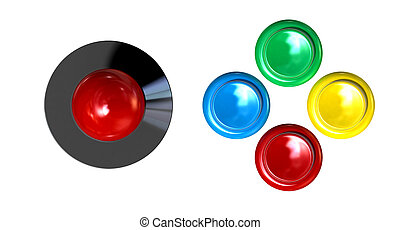 Arcade Control Joystick And Buttons - A direct top view of a...
