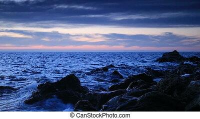 Sea coast in the evening