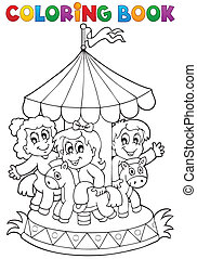 Coloring book carousel theme 1 - eps10 vector illustration.