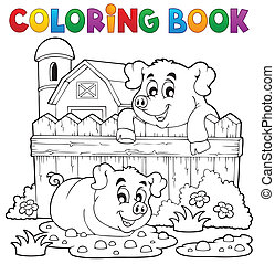 Coloring book pig theme 3 - eps10 vector illustration.