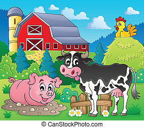 Farm animals theme image 1 - eps10 vector illustration.
