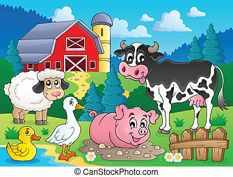 Farm animals theme image 3 - eps10 vector illustration.